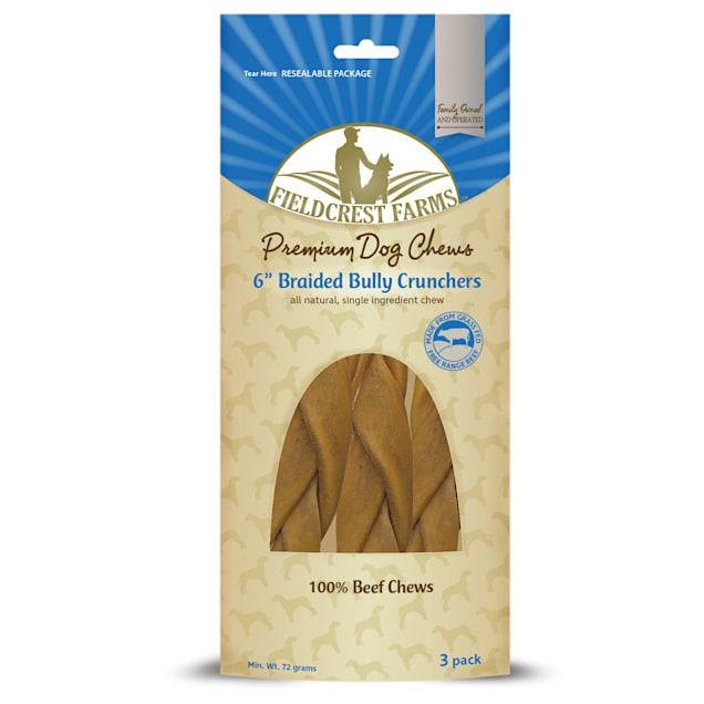 "Fieldcrest Farms Bully Crunchers 6"" Braided Dog Treats, 72 Grams, Pack of 3 - Carousel image #1"