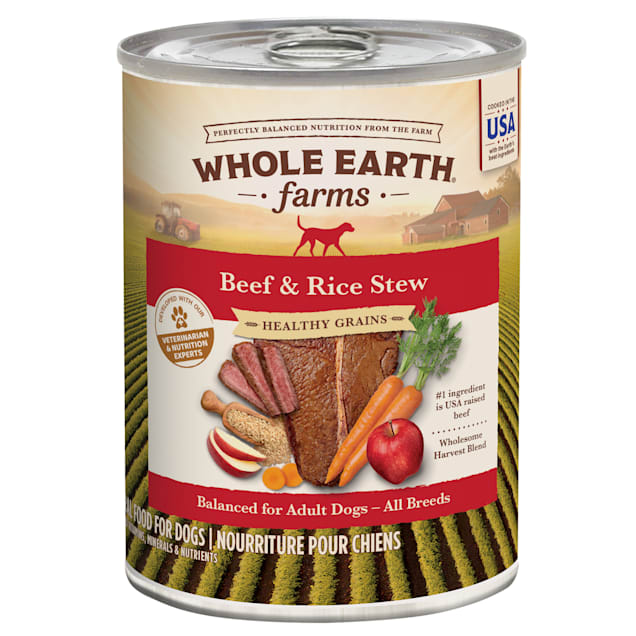 Whole Earth Farms Healthy Grains Beef and Rice Stew Canned Dog Food, 12.7 oz., Case of 12 - Carousel image #1