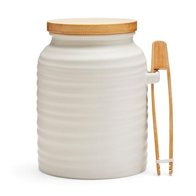 EveryYay Goody-Goody Ivory Ceramic Wave Treat Jar, 6 Cups - Carousel image #1