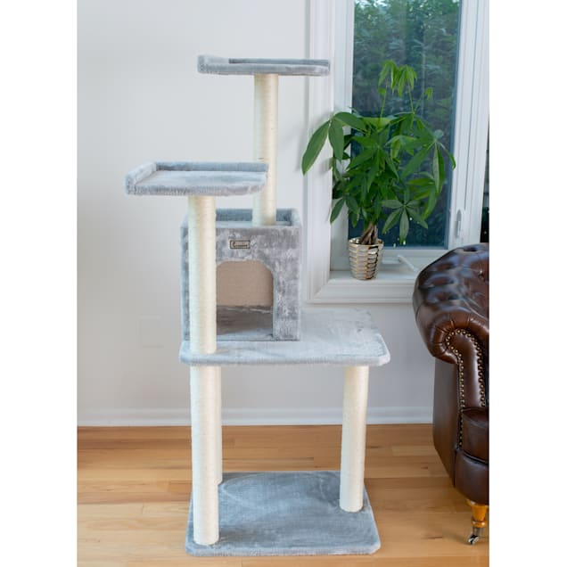 """Gleepet Silver Gray With Two-Door Condo Cat Tree, 57"""" H - Carousel image #1"""