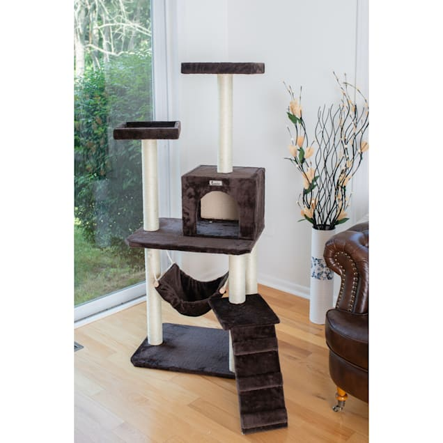 """Gleepet Coffee Brown With Four Levels, Ramp, Hammock and Condo Cat Tree, 57"""" H - Carousel image #1"""