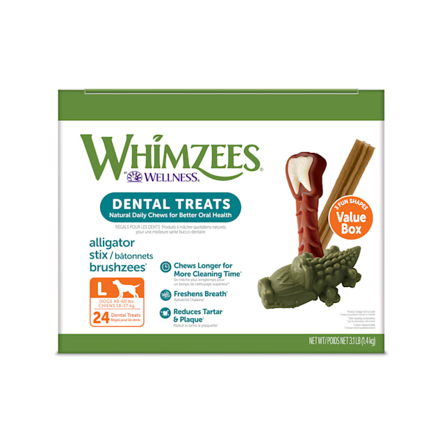 Whimzees Large Natural Dental Value Box Dog Treats, 50.91 oz., Count of 24 - Carousel image #1