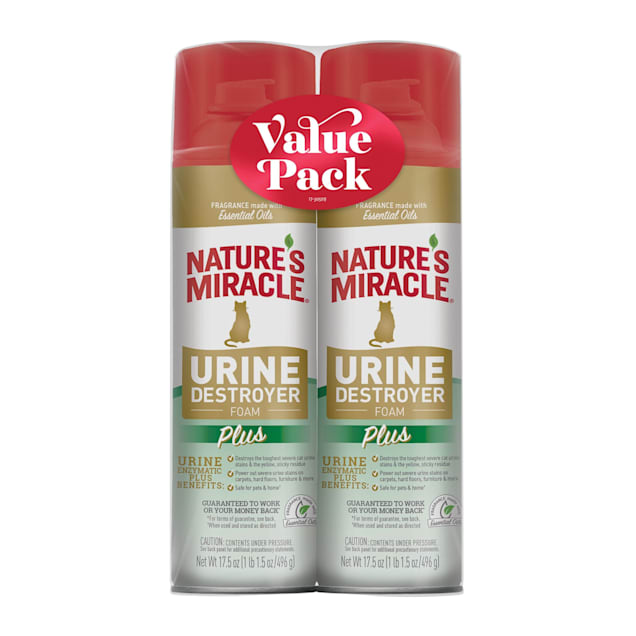 Nature's Miracle Urine Destroyer Foam Plus for Cats, 17.5 fl. oz., Pack of 2 - Carousel image #1