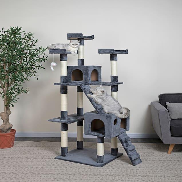 "Go Pet Club Gray/Ivory Cat Tree Condo, 72"" H - Carousel image #1"