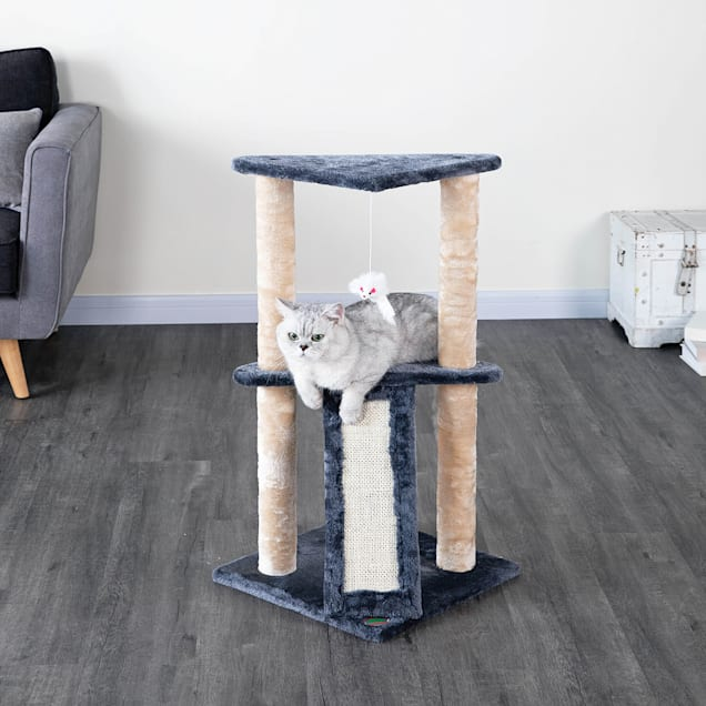 """Go Pet Club Gray Kitten Tree with Scratching Board, 35.5"""" H - Carousel image #1"""