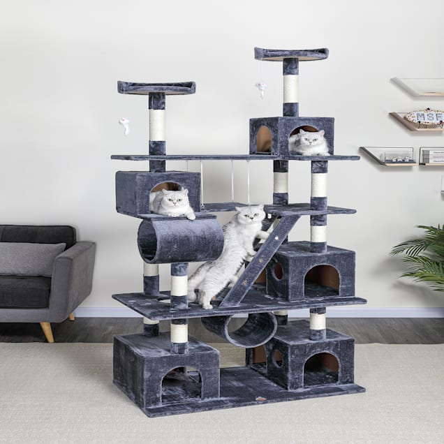 """Go Pet Club Gray Cat Tree Climber with Swing and Sisal Scratching Post, 87"""" H - Carousel image #1"""
