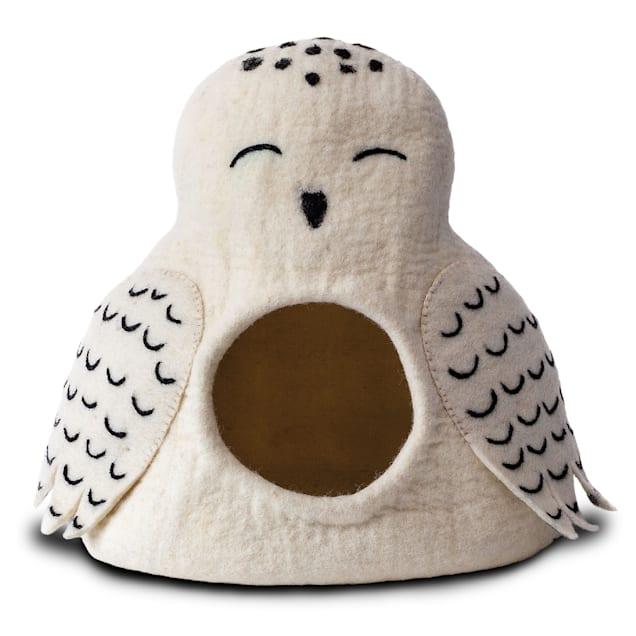 "Dharma Dog Karma Cat Wool Snowy Owl Pet Cave, 14"" L X 12"" W X 14"" H - Carousel image #1"