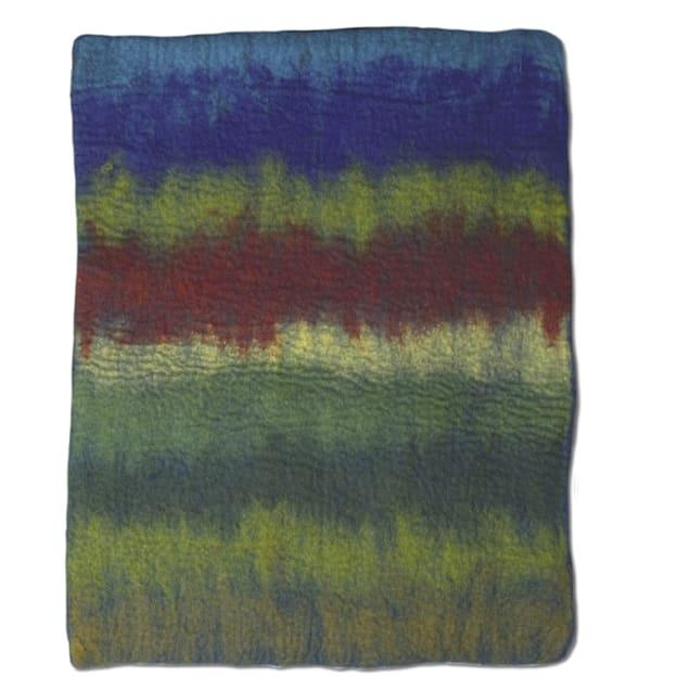 "Dharma Dog Karma Cat Blue/Red Multi Ombre Wool Pet Mat, 24"" L X 18"" W - Carousel image #1"