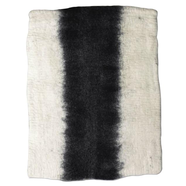 "Dharma Dog Karma Cat Black & White Ombre Wool Pet Mat, 24"" L X 18"" W - Carousel image #1"