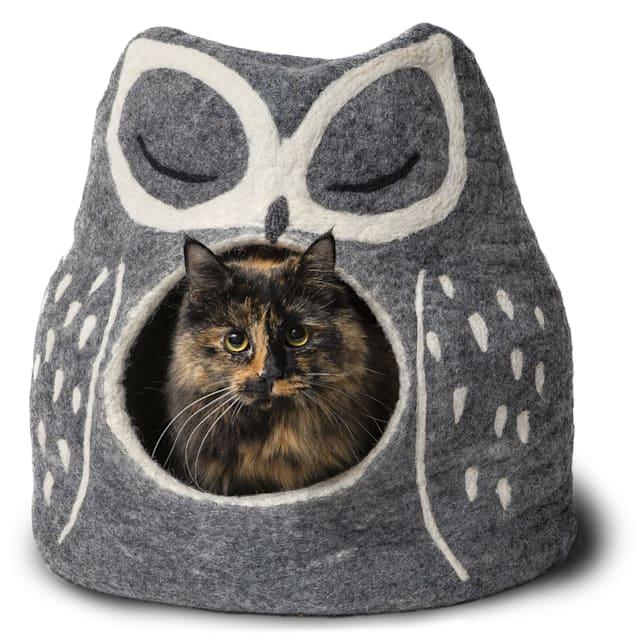 "Dharma Dog Karma Cat Grey Owl Wool Pet Cave, 14"" L X 12"" W X 14"" H - Carousel image #1"