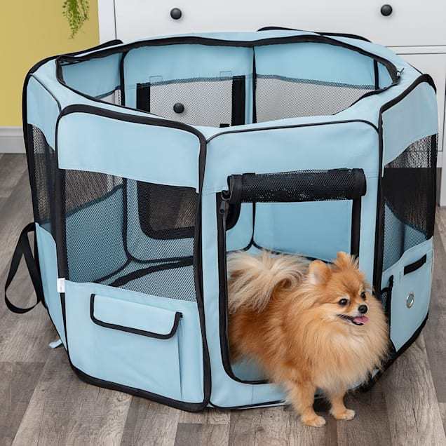 """Paws and Pals Blue Pet Playpen Portable Pop Up Tent with Blanket, 34.5"""" L X 34.5"""" W X 24"""" H - Carousel image #1"""