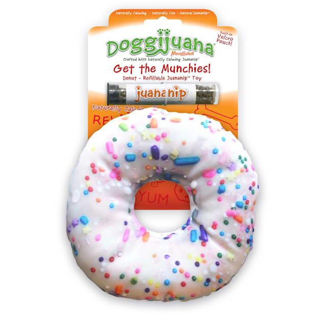 Doggijuana Get the Munchies Refillable Donut Dog Toy, Medium - Carousel image #1