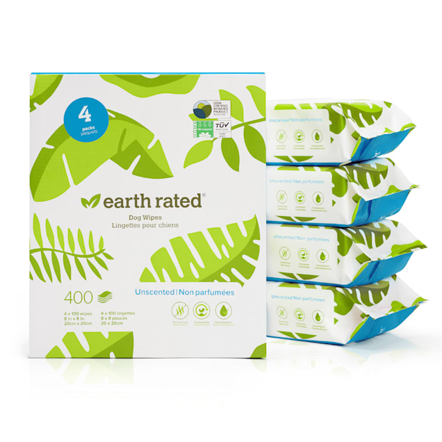 Earth Rated Compostable Unscented Wipes for Pets, Count of 400 - Carousel image #1