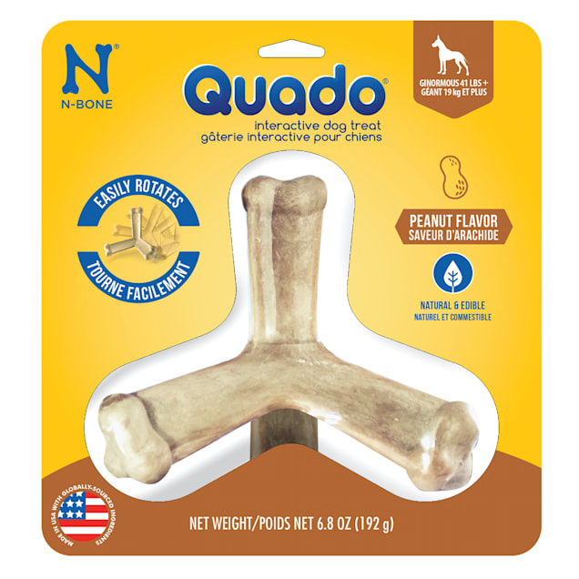 N-Bone Quado Peanut Flavor Interactive Large Dog Treats, 6.8 oz. - Carousel image #1
