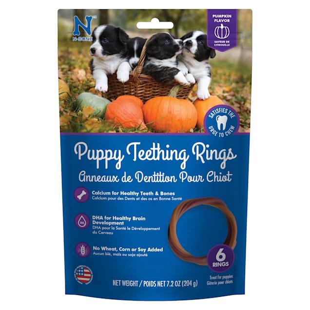 N-Bone Puppy Teething Rings Pumpkin Flavor Chew Treats, 7.2 oz., Count of 6 - Carousel image #1