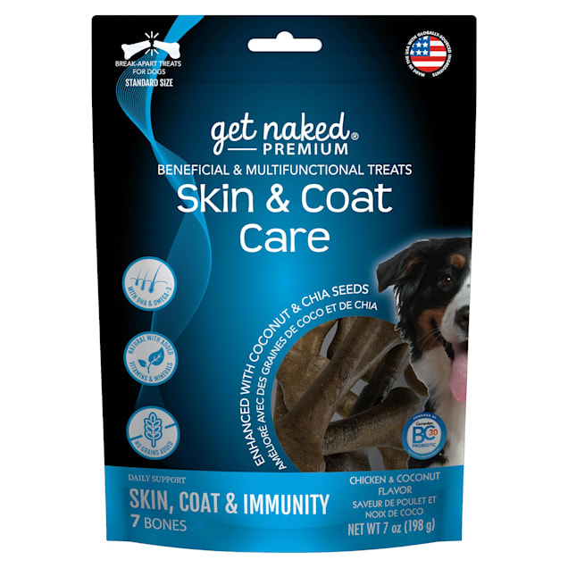 Get Naked Premium Skin & Coat Care Beneficial & Multifunctional Chicken & Coconut Flavor Dog Treats, 7 oz. - Carousel image #1