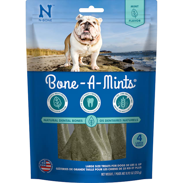 N-Bone Bone-A-Mints Mint Flavor Daily Dental Large Dog Treats, 8.92 oz. - Carousel image #1