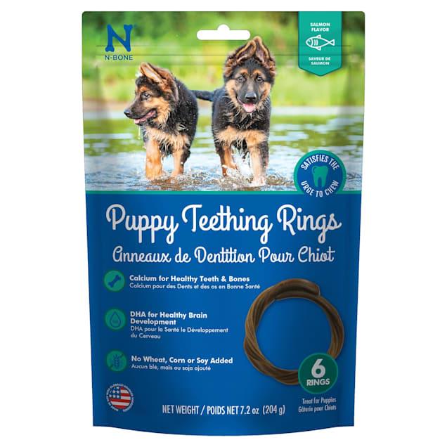 N-Bone Puppy Teething Rings Salmon Flavor Chew Treats, 7.2 oz. - Carousel image #1