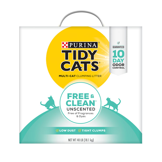 Tidy Cats Free & Clean Unscented Clumping Multi Cat Litter, 40 lbs. - Carousel image #1