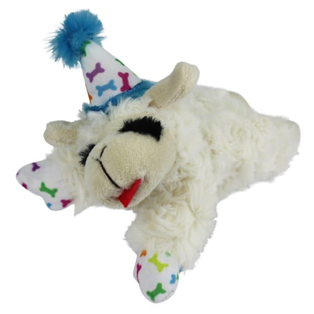 Multipet International Blue Happy Birthday Mini Lamb Chop Dog Toy, Small - Carousel image #1