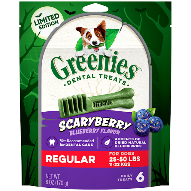 Greenies ScaryBerry Blueberry Flavor Regular Halloween Natural Dental Dog Chew Treats, 6 oz. - Carousel image #1