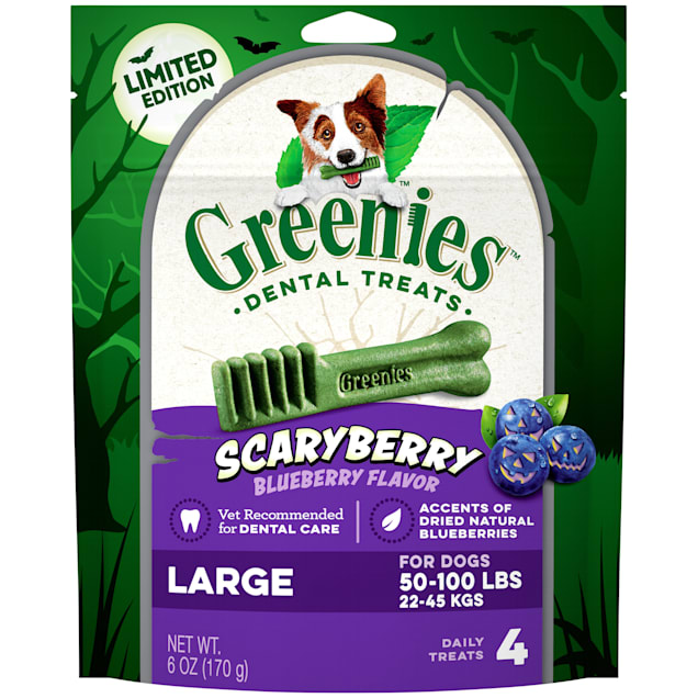 Greenies ScaryBerry Blueberry Flavor Large Halloween Natural Dental Dog Chew Treats, 6 oz. - Carousel image #1