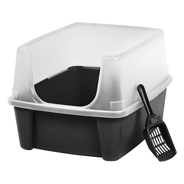 Iris Black Open-Top Cat Litter Box with Shield and Scoop - Carousel image #1