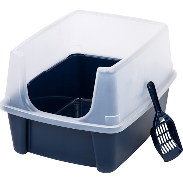 Iris Navy Open-Top Cat Litter Box with Shield and Scoop - Carousel image #1