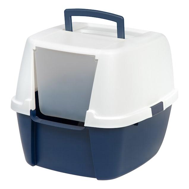 Iris Navy Hooded Cat Litter Box, X-Large - Carousel image #1