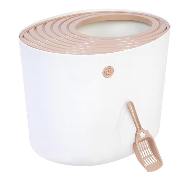 Iris White/Beige Top Entry Cat Litter Box, Large - Carousel image #1