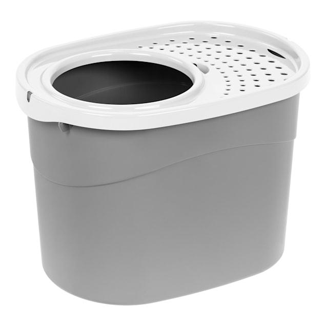 Iris Gray/White Top Entry Cat Litter Box, Large - Carousel image #1