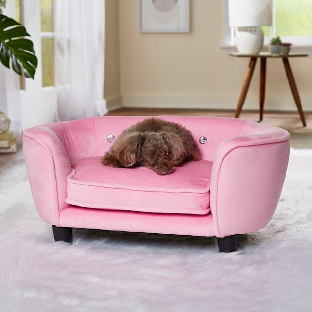 "Enchanted Home Pet Pink Serena Pet Sofa, 26.5"" L X 16"" W - Carousel image #1"