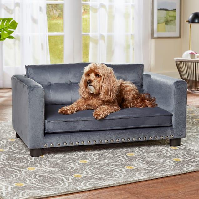 "Enchanted Home Pet Gray Casey Pet Sofa, 32.99"" L X 20.98"" W - Carousel image #1"