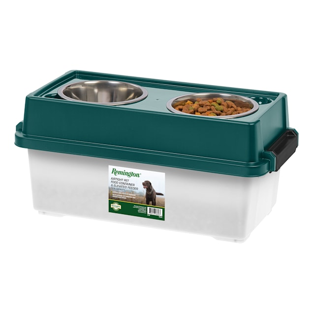 Iris Remington Double Diner Elevated Feeder with Food Storage for Dogs, 13 lbs. - Carousel image #1