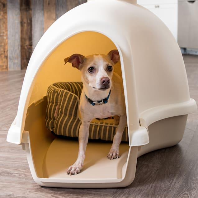 Iris White/Almond Igloo Shaped Dog House - Carousel image #1