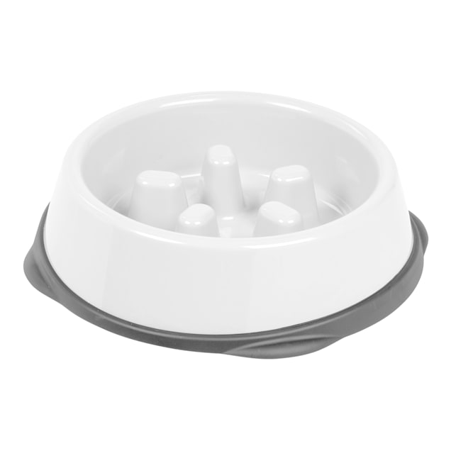 Iris White/Gray Slow Feeding Dog Bowl for Short Snouted Pets, 2 Cup - Carousel image #1