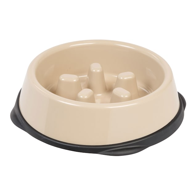 Iris Beige/Black Slow Feeding Dog Bowl for Short Snouted Pets, 2 Cup - Carousel image #1