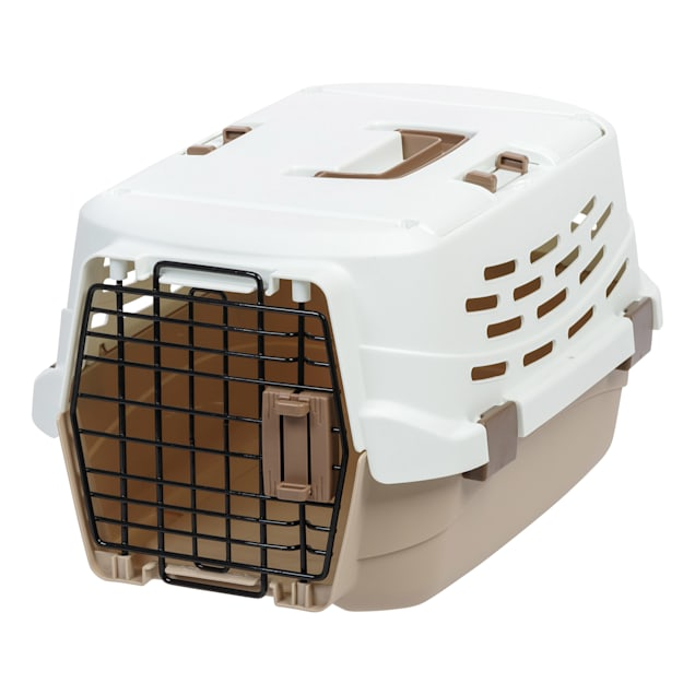 Iris Off-White/Brown Easy Access Pet Travel Carrier, Small - Carousel image #1
