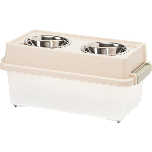 Iris Almond Elevated Double Diner with Airtight Food Storage Container for Dogs, 4 Cup - Carousel image #1