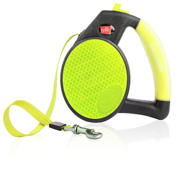 Wigzi Yellow Durable Liquid Filled Gel Handle Comfort Grip Retractable Dog Leash, Small - Carousel image #1