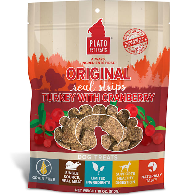 Plato Pet Original Real Strips Turkey & Cranberry Dog Treats, 18 oz. - Carousel image #1