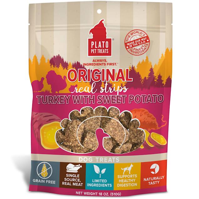 Plato Pet Original Real Strips Turkey & Sweet Potato Dog Treats, 18 oz. - Carousel image #1