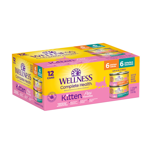 Wellness Complete Health Kitten Whitefish & Tuna and Chicken Variety Pack Wet Food, 3 oz., Count of 12 - Carousel image #1