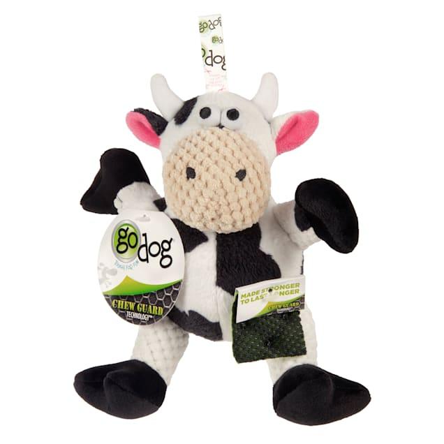 goDog Checkers Sitting Cow Plush Dog Toy, Small - Carousel image #1