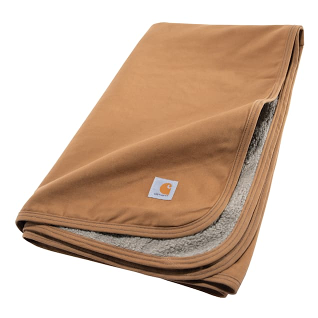 """Carhartt Firm Duck Sherpa-Lined Throw for Dogs, 59.5"""" L X 45.5"""" W - Carousel image #1"""