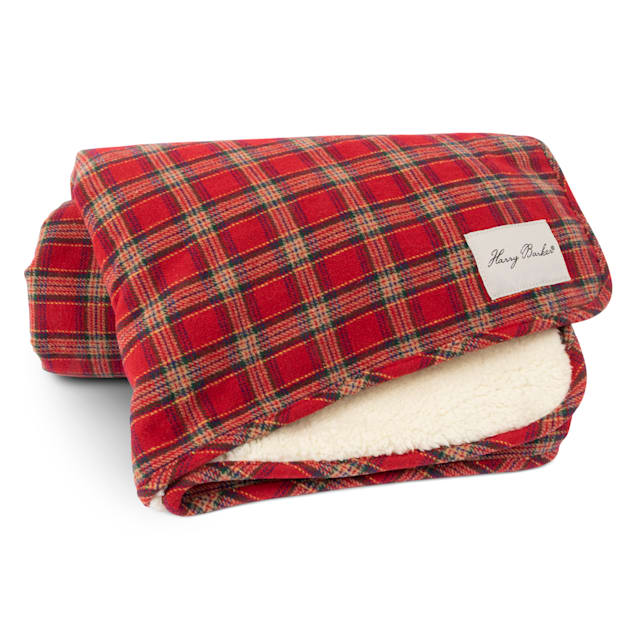 """Harry Barker Plaid Sherpa Holiday Throw for Dogs, 50"""" L X 60"""" W X 0.5"""" H - Carousel image #1"""