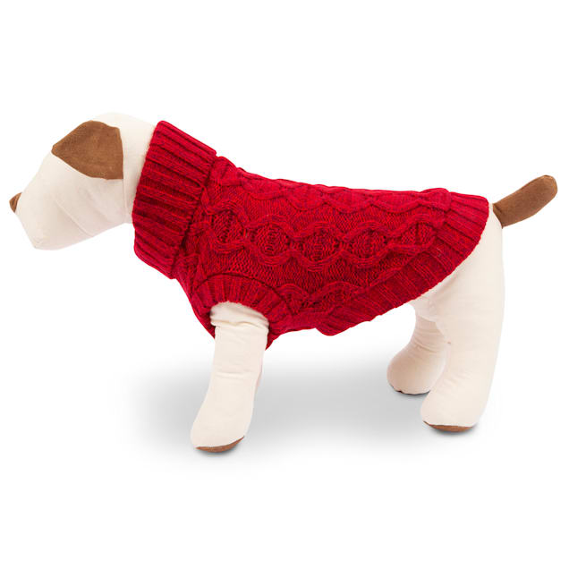 Harry Barker Red Solid Knit Dog Sweater, Small - Carousel image #1