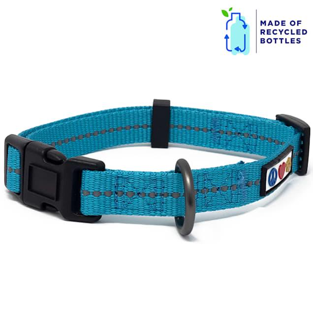 Pawtitas Teal Recycled Reflective Dog Collar, X-Small - Carousel image #1