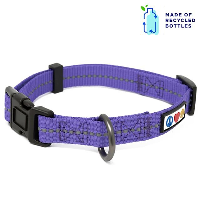 Pawtitas Purple Recycled Reflective Dog Collar, X-Small - Carousel image #1