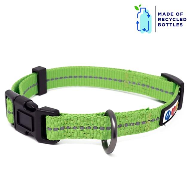 Pawtitas Green Recycled Reflective Dog Collar, X-Small - Carousel image #1